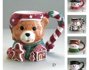 Christmas Mugs Holiday Mug Christmas Snowman Mug Bear Mug Face Mug Xmas Mug Character Mug Hot Chocolate Mug Novelty Christmas Gift Under 20