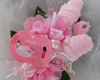 Pin On Baby Shower Corsage - Baby Girl Corsage - Floral Corsage - Pink Pacifier and Washcloths - Baby Shower Items
