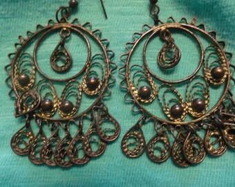 Vintage BOHO chandelier Earrings Brass Filigree