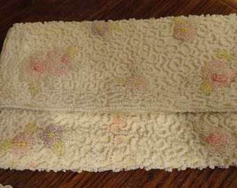 Vintage BEADED Evening Clutch PURSE 1930s Art Deco White with Pink Made in France