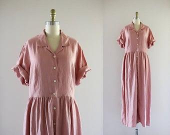 blush linen market dress / l tall