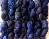 LUCKY DIP: Cormo Wool Yarn Hand Dyed - Multi - violet purple ocean blue bottle green 100g (3.5oz)
