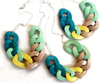Chain Link Necklace, Chunky Chain Statement Necklace in Mint Yellow Teal Nude, Handmade Oversized Chain Link Necklace