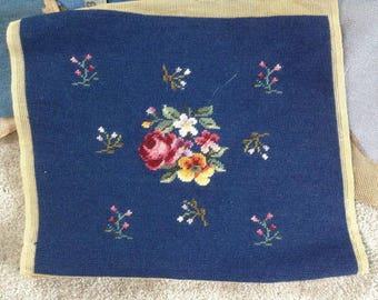 Beautiful Vintage Completed Needlepoint piece, Pink Rose Floral Design on a Dark Blue Background, ECS