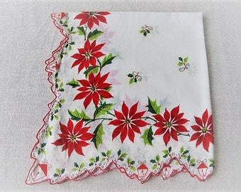 Vintage Christmas Handkerchief, Ladies Cotton Linen Hankie with Poinsettias and Lanterns, Vintage Tea Napkin, ECS, FREE Shipping