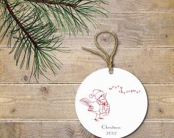 Bird Christmas Ornament, Cardinal, Custom Christmas Ornaments, Red Bird, Personalized Ornament, Christmas Ornaments, Ceramic
