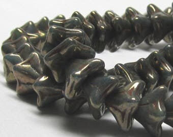 Czech Glass Beads 8 x 6mm Opaque Marbled Aqua Blue Frosted with a Golden Sheen Bell Flower Beads - 25 Pieces