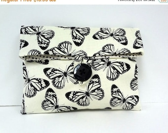 ON SALE READY To Ship Butterfly Makeup Bag Black and White Wedding Clutch