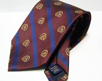 Vintage Brooks Brothers Silk Necktie - Diagonal Stripes with Horse/Equestrian Theme - Blue, Burgundy