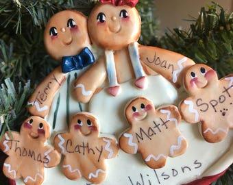 Gingerbread family resin ornament