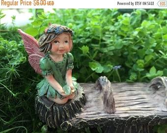 SALE Sweet Flower Crown Fairy Figurine, Kneeling Fairy, Green Dress, Holding Gem, Fairy Garden Accessory, Miniature Garden Decor, Topper