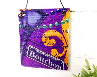 Bourbon street - New Orleans Rustic wood sign ready to hang with wire.