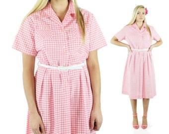 Vintage 50s Day Dress Plus Size Pink Gingham Shirtwaist Shirt Dress 1950s XXL XX-Large Pinup Rockabilly Short Sleeve Sundress Pennys