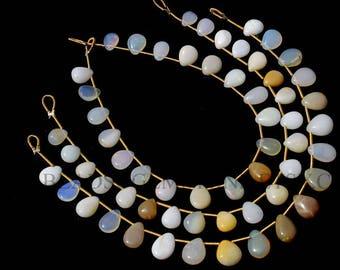 Semiprecious Stone, Ethiopian Opal Smooth Pear (Quality B) / 6x7.5 to 7x9 mm / 18 cm / ET-101