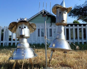 American Gothic Inspired Metal Sculptures -- Repurposed Kitchen Gadgets