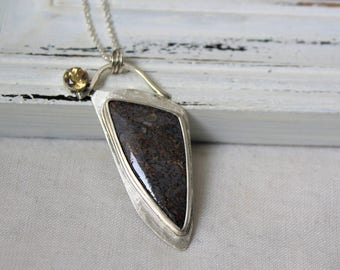 Sterling silver, Dino Bone and Citrine Pendant - Pendant with chain - jewelry necklace 925