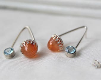 Sterling silver Earrings with Carnelian and blue Topaz Gemstones