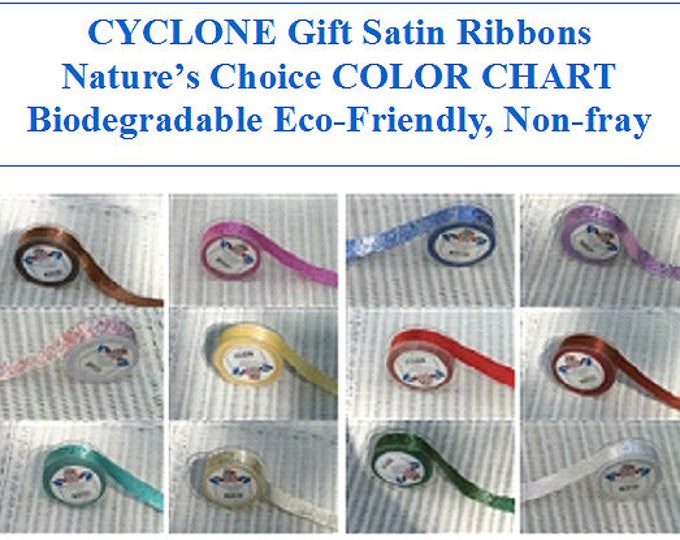 Cyclone Swirl printed Satin Ribbon 1 inch (24 mm) made in England, non-fray edge Nature's Choice Biodegradable Ribbon, great for gift wrap