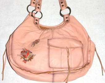 Super Cool Very Fine Peach Leather Purse with Tattoos