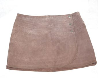 Beautious Dust Rose Suede Mini Skirt- Size S