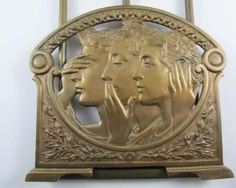 Antique Art Nouveau Bronze Expanding Bookends See No Evil Hear No Evil Speak No Evil