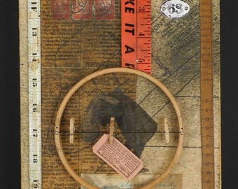 Ida Surely Is A Dandy: original mixed media assemblage art, upcycled collage, neutral with red by Leslee Lukosh of Foundturtle in Portland