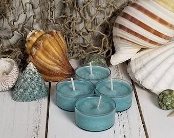 4 Sea Mist Tea Lights, Mermaid Candles