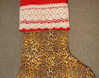Leopard Print Red Fabric Crochet Lace Hand made Lined Stocking