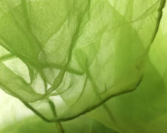 Green color Silk gauze Scarf for Nuno Felting