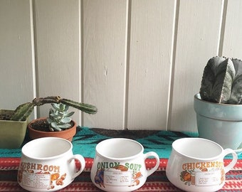 Retro Vintage Soup Bowl Recipe Mugs.