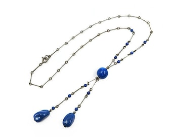 Art Deco Blue Glass Necklace - Lavaliere Necklace, Glass Drops, Silver Tone Metal, Art Deco Necklace, Antique Jewelry