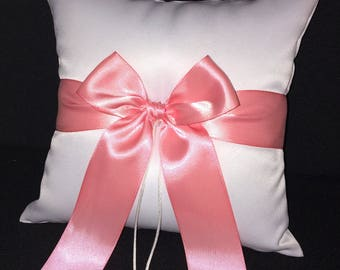 Light Coral Pink  Ivory or White Wedding Ring Bearer Pillow