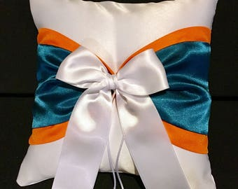 Orange and Teal Blue Accent White or Ivory  Wedding Ring Bearer Pillow
