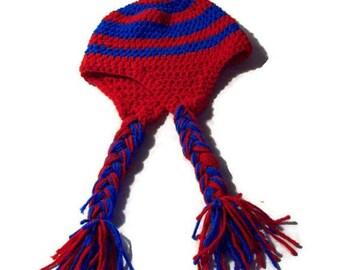 Red & Blue Earflap Hat Unisex Meduim Adult Hat