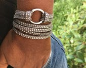 Infinity Circle Wrap Bracelet, Leather Jewelry, Tan Rhinestone Faux, Leather Cuff Bracelets, Gift for Her, Leather, Triple Wrap, Bangles