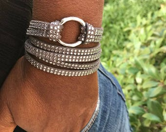 Vegan Infinity Circle Wrap Bracelet, Leather Jewelry, Tan Rhinestone Faux, Leather Cuff Bracelets, Gift for Her, Leather Wrap, Bangles