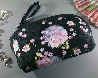 Black blue & pink make up pouch - Mina