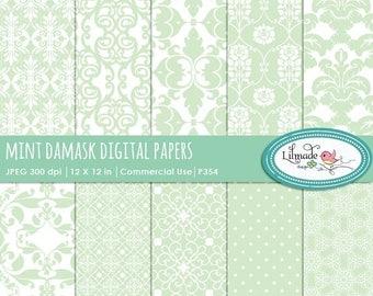 65%OFF SALE Mint damask digital papers, digital paper, damask digital paper, vintage digital paper, commercial use, P354