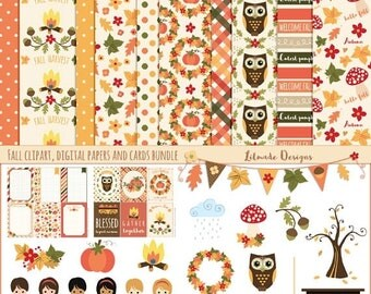 50%OFF Fall clipart, digital papers and printable cards bundle, fall clipart, fall digital paper, fall printable cards, fall stickers, P421