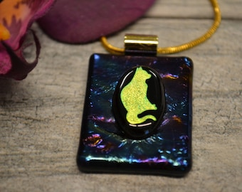 Dichroic Cat Pendant, Fused Glass, Kitty Necklace, Cat Lovers Gift