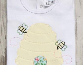 Honey Bee Hive Applique shirt, Girls Vintage Bee Hive Shirt