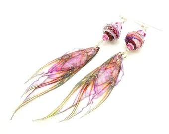 Pink Earrings, Fairy Wing Earrings, Fairy Wing Jewelry, Long Dangle Earrings, Lampwork Earrings, Glass Bead Earrings, Unique Earrings