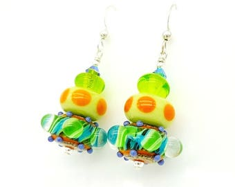 Bright Earrings, Polka Dot Earrings, Southwestern Earrings, Lampwork Earrings, Glass Earrings, Glass Bead Earrings,Colorful Earrings