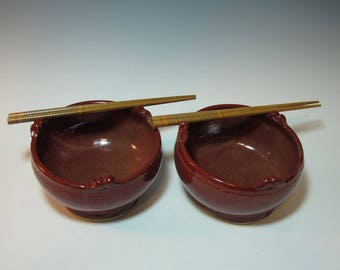 Brick Red Set of Two Angled Noodle Salad Bowls Set - with Chopsticks - In Stock Ready to Ship