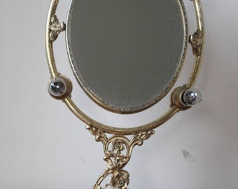 Vintage Gold Make Up Vanity Mirror with Light Bulbs, Decorative, Art Neuvour, Hollywood Regency, Victorian Style