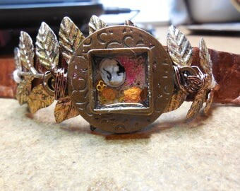 Leather Collaged Cuff with Cameo