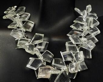 ON SALE Rock Crystal Quartz Beads Diamond Shaped Briolettes Tilaks Kites Fancy Cut Stones Step Faceted Earth Mined Quartz - ONE Focal Bead