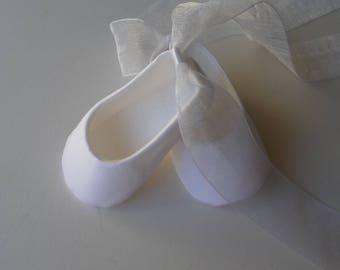 Christening Shoes . Baby Girl Shoes . Infant Ballet Slippers . Baptism . Dedication . Blessing . Baby Ballerina . White Ballet Flats
