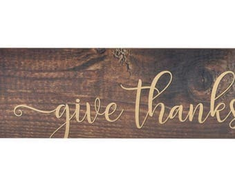 Give Thanks Wood Wall Sign 6x18