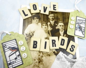 Love Birds Needful Things Vintage DIY Project Embellishments JUNQUE Inspiration Lot Shabby Sweet